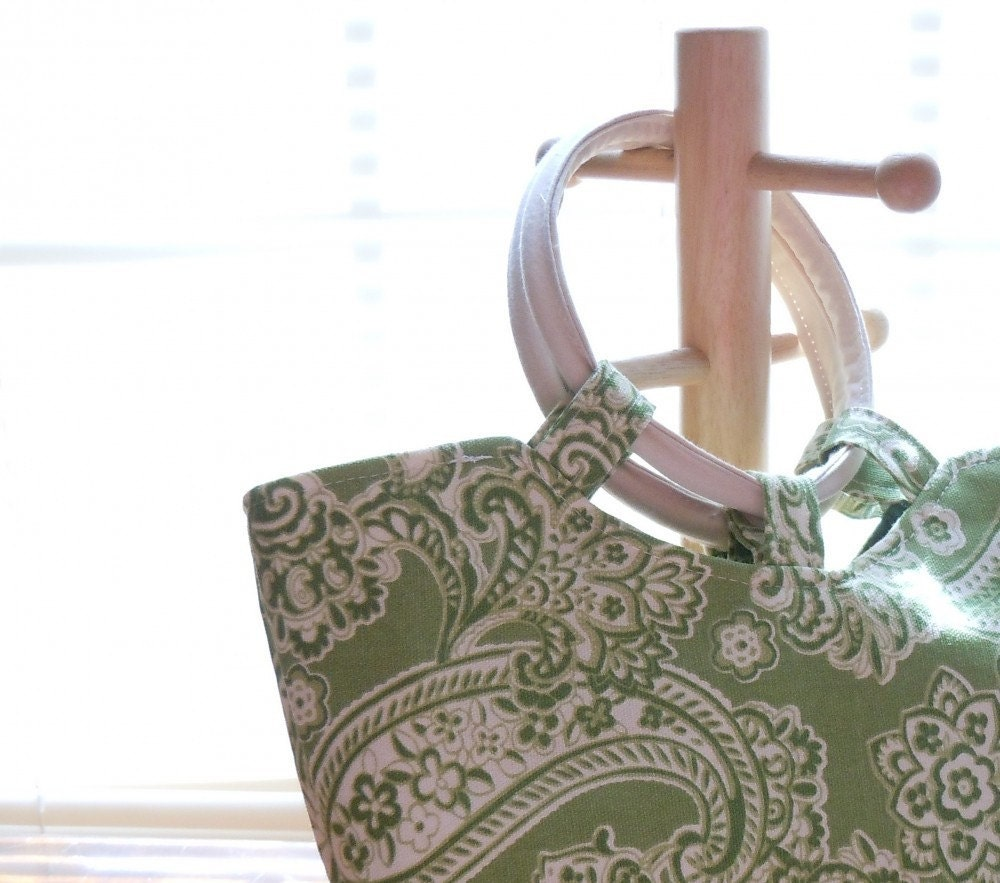 ON SALE! Off-white and green paisley Handmade Purse
