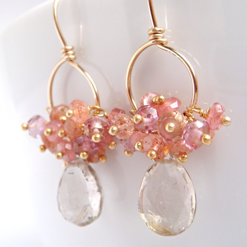 Warmth Earrings  Rutilated Quartz With Sunstone by aubepine from etsy.com