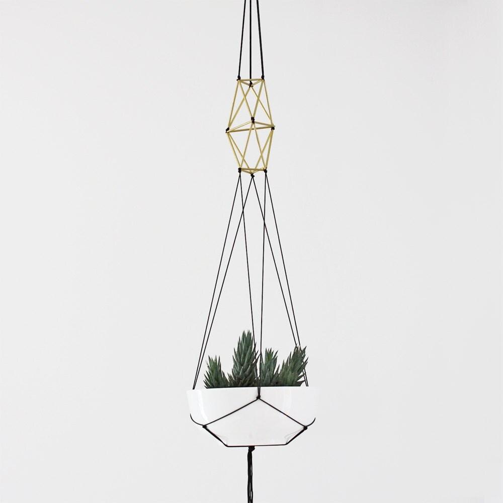 Brass Himmeli Hanging Planter No 1 Modern Geometric