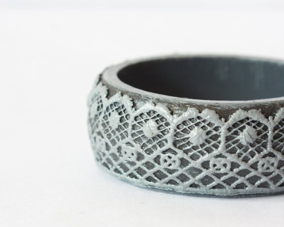 Lace Bangle, Black Grey Bracelet, Lace Jewelry, Relief Victorian Lace Cuff, Romantic Gift for Her , Summer Fashion - BeauMiracleJewelry