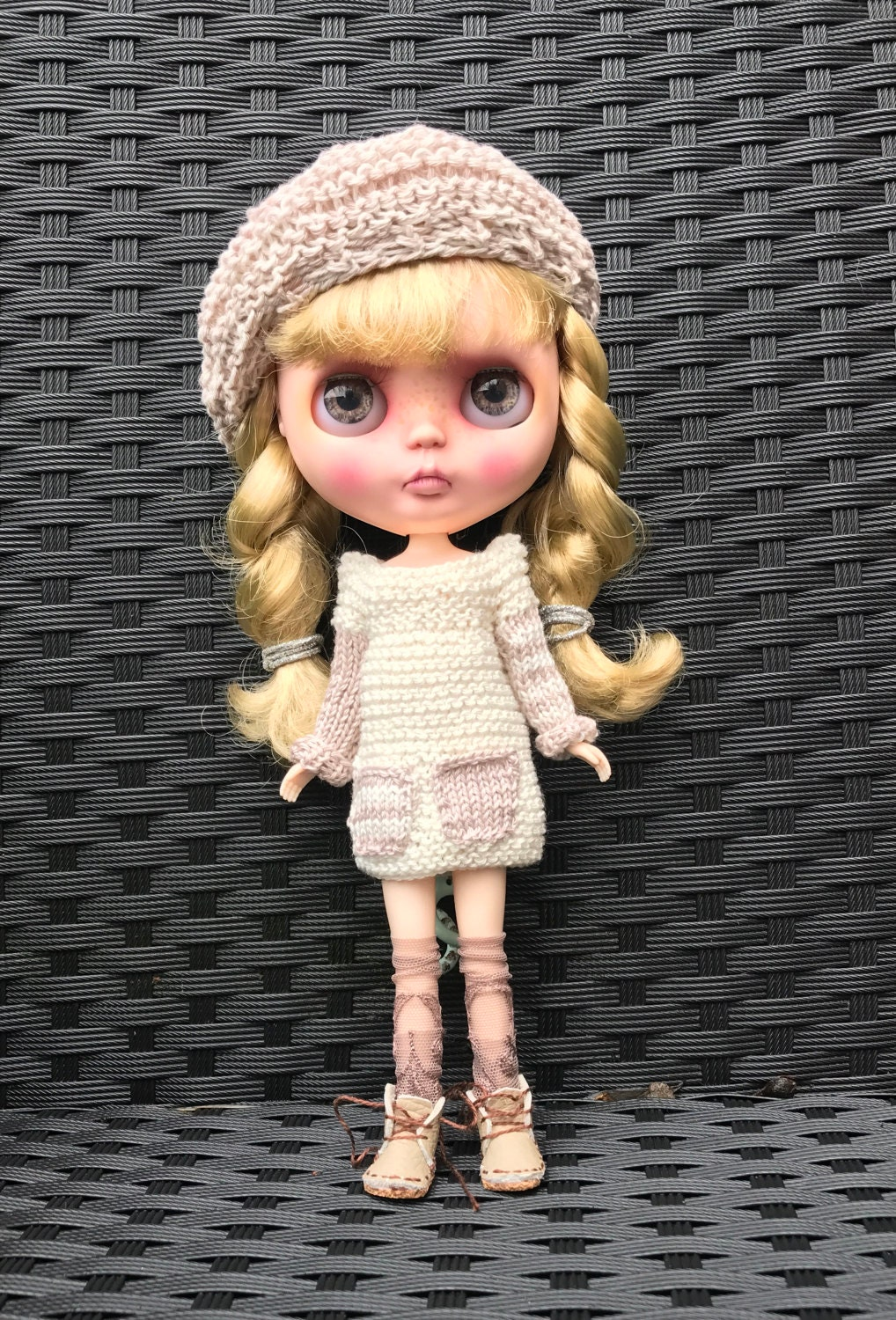 Blythe Doll outfit  handmade knitted dress and matching berry in cream and taupe cotton