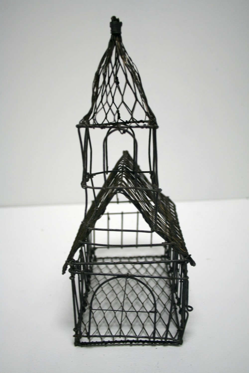 Antique French Wire Hand Made Church House Sculpture