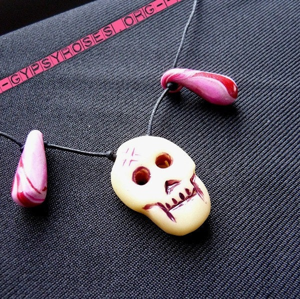 Angry Mr Skullhead Necklace OOAK Handmade  FREE SHIPPING by che4u