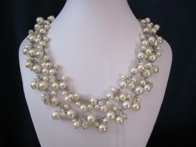 Cluster bridal necklace with swarovsi pearls, crystals, and rhinestones