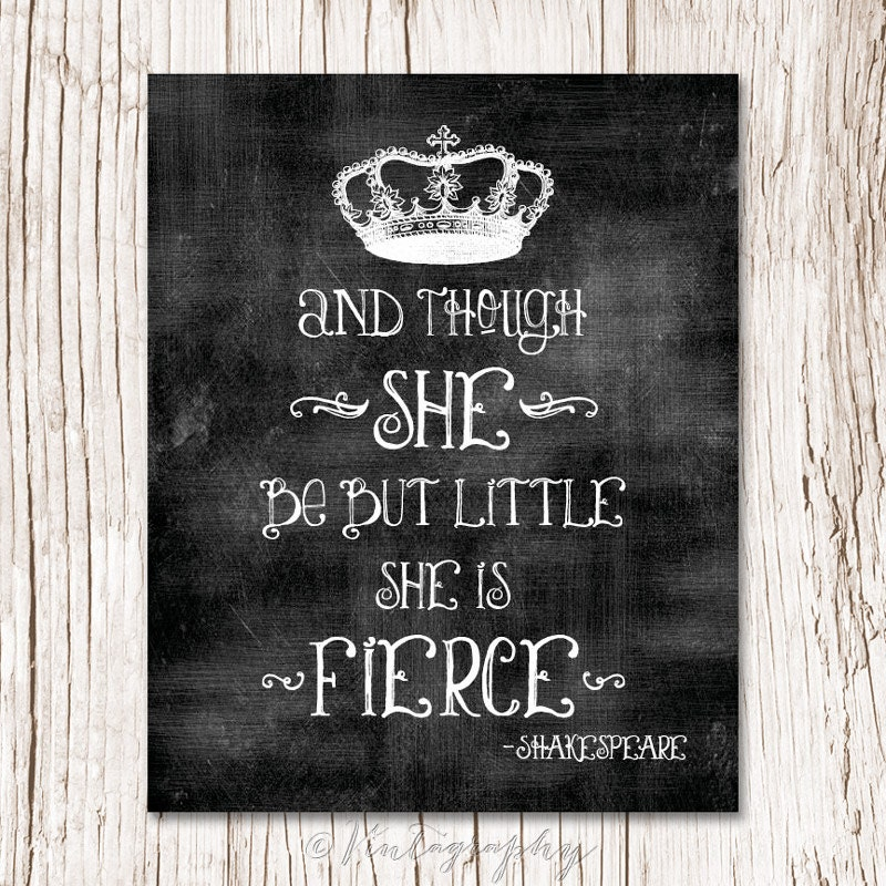 Dorm Room Wall Decor Etsy : And though she be but little is fierce by willowandolive