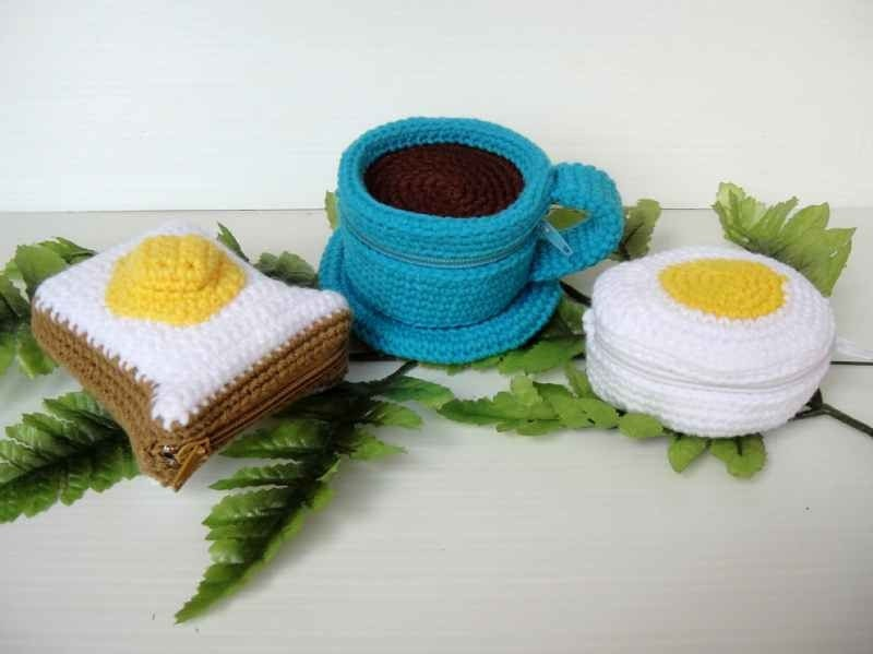 Crochet Pattern - FOOD PURSE 3 - Coffee, Bread and Egg
