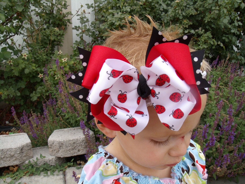 PRETTY LADYBUG PRINCESS Bow with FREE Headband