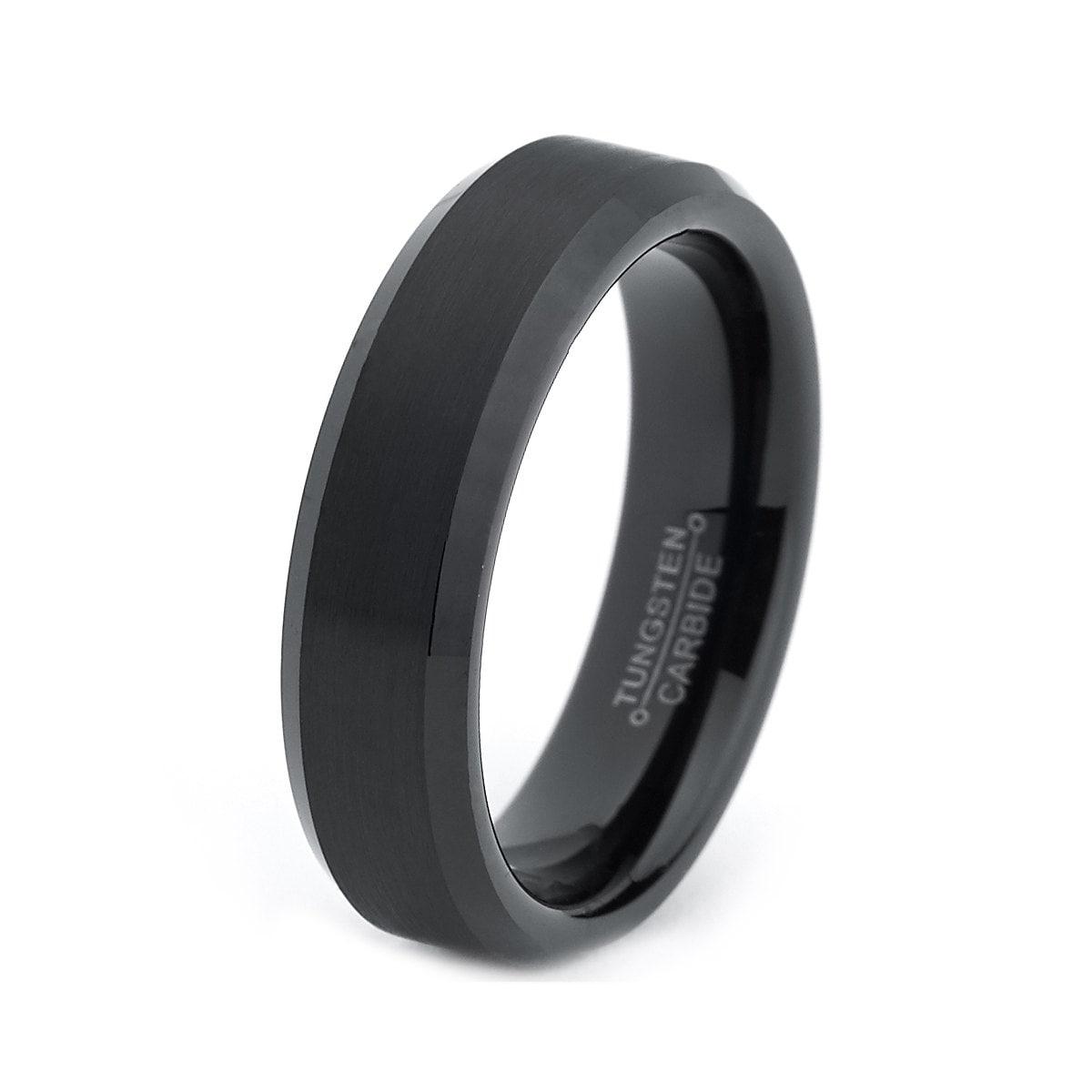 black tungsten ring black enamel mens wedding band brushed wedding
