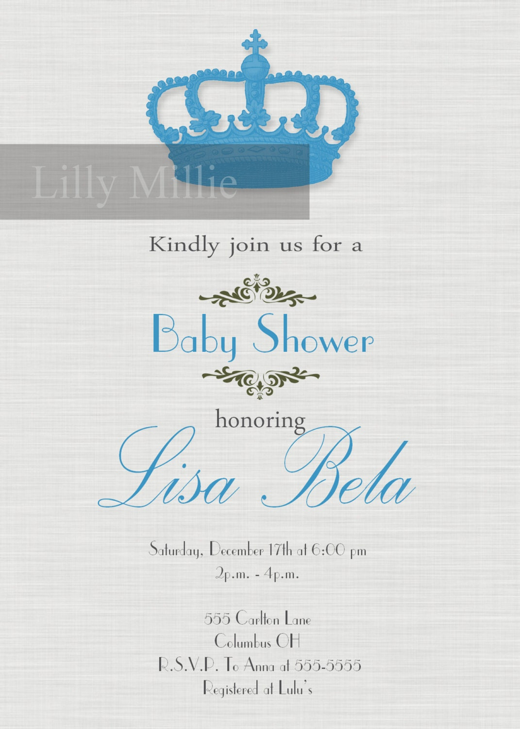 little baby blue prince baby shower invitation crown gray grey accent