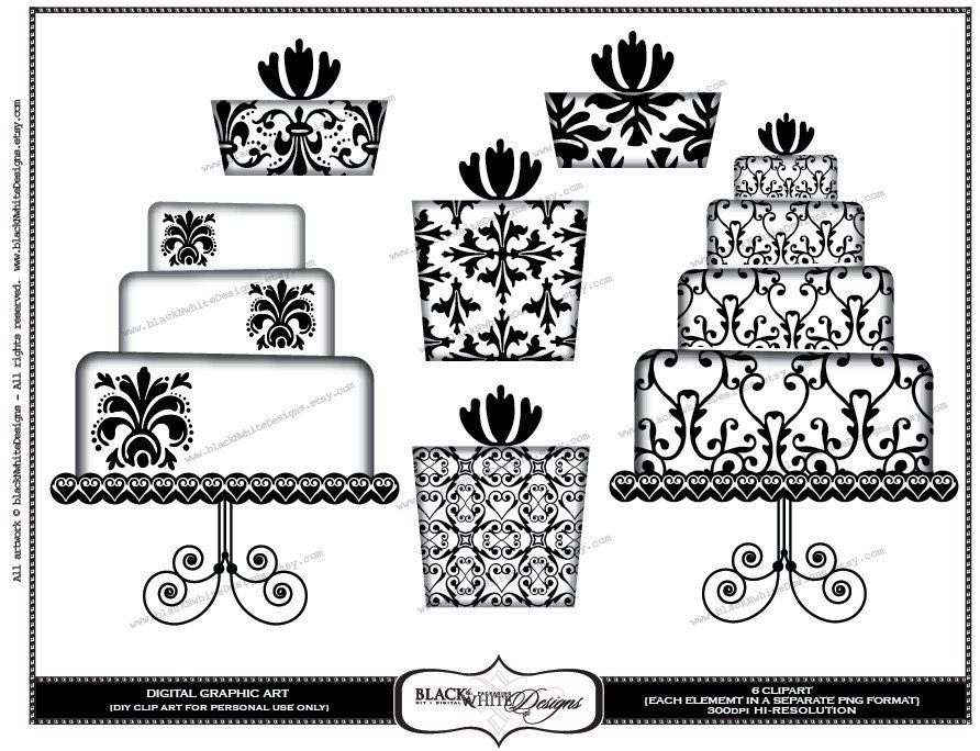 DIY Clip Art Set Black and White Damask Wedding Cakes and Gifts CLP105