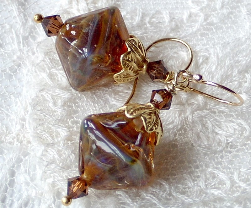 Diamond Shaped Lampwork Bead Earrings by stoutdg2 on Etsy from etsy.com