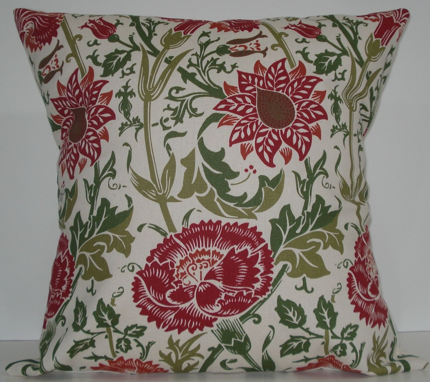 New 18x18 inch Designer Handmade Pillow Case in red, and two shades of green on natural.