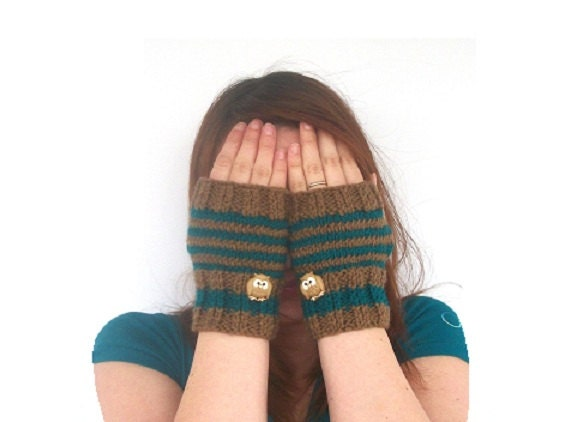 Teal and Brown Striped Fingerless Gloves - Hand Knit with Owl Buttons