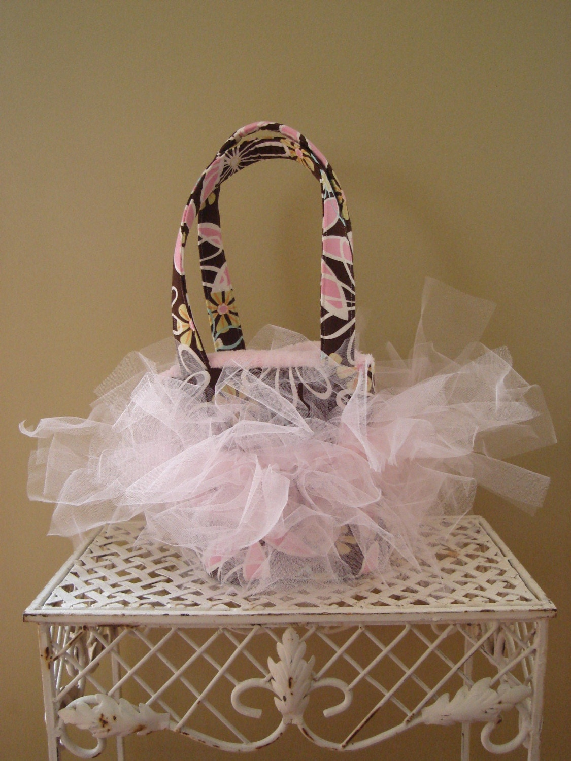 tutu ballet inspired tote brown and pink