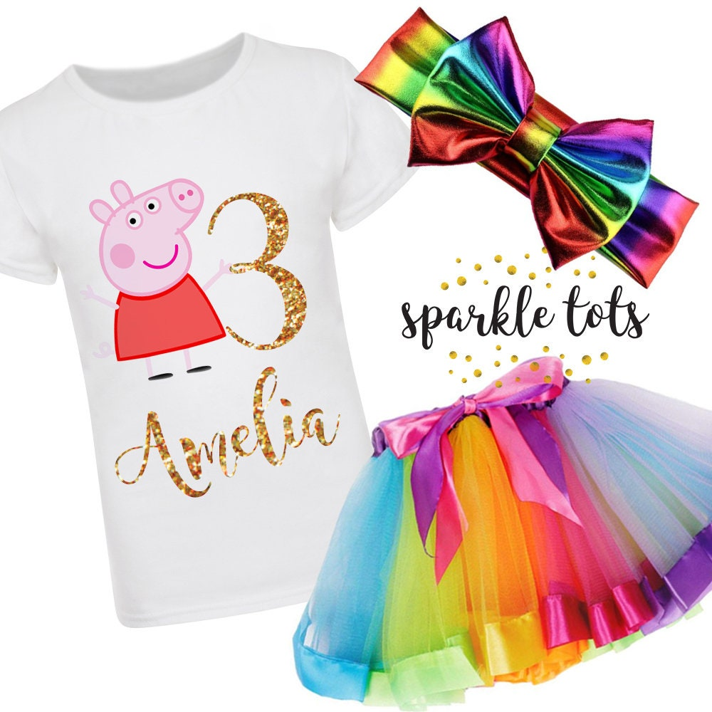 Peppa pig birthday outfit, peppa pig outfit, peppa pig birthday, peppa pig party, peppa pig birthday shirt, rainbow tutu, peppa tutu