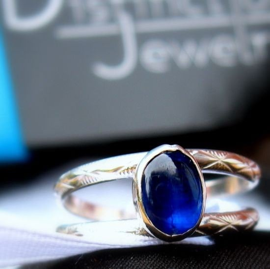 Gorgeous Sapphire Blue Kyanite Ring with Patterned Sterling Silver Band