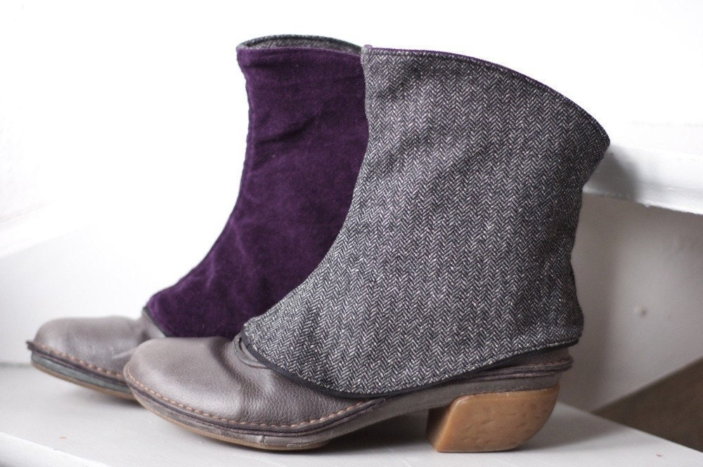 Herringbone Spats Lady Violet -reversible- tweed and velveteen