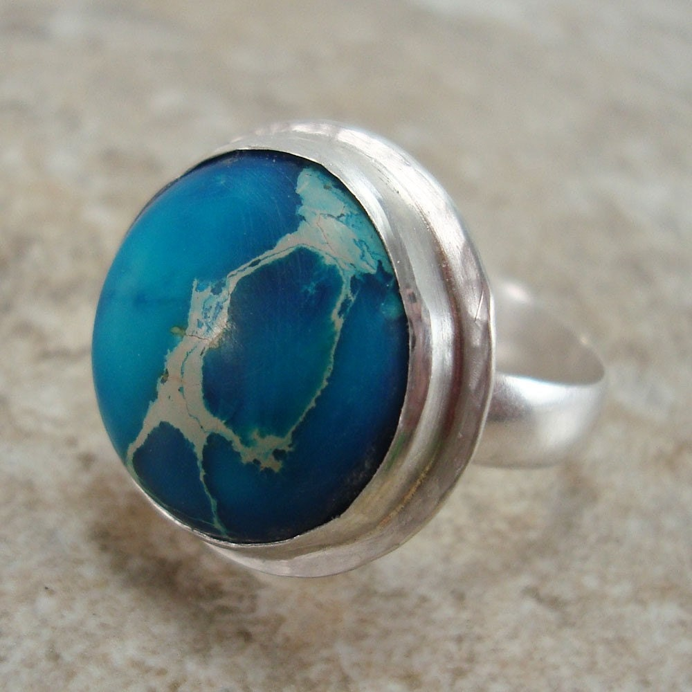 Blue Earth - Ring - Sea Sediment Jasper set in Sterling Silver