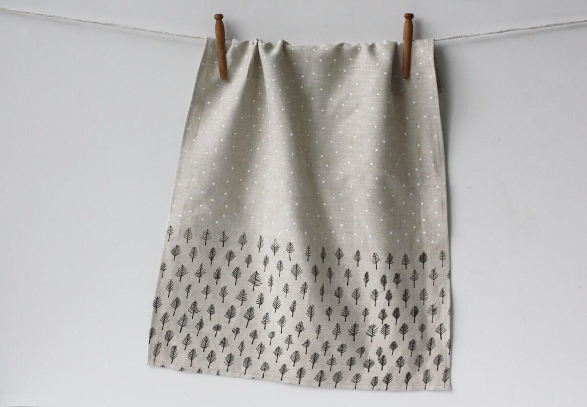 Linen Tea Towel - Trees & Stars - jennarosehandmade