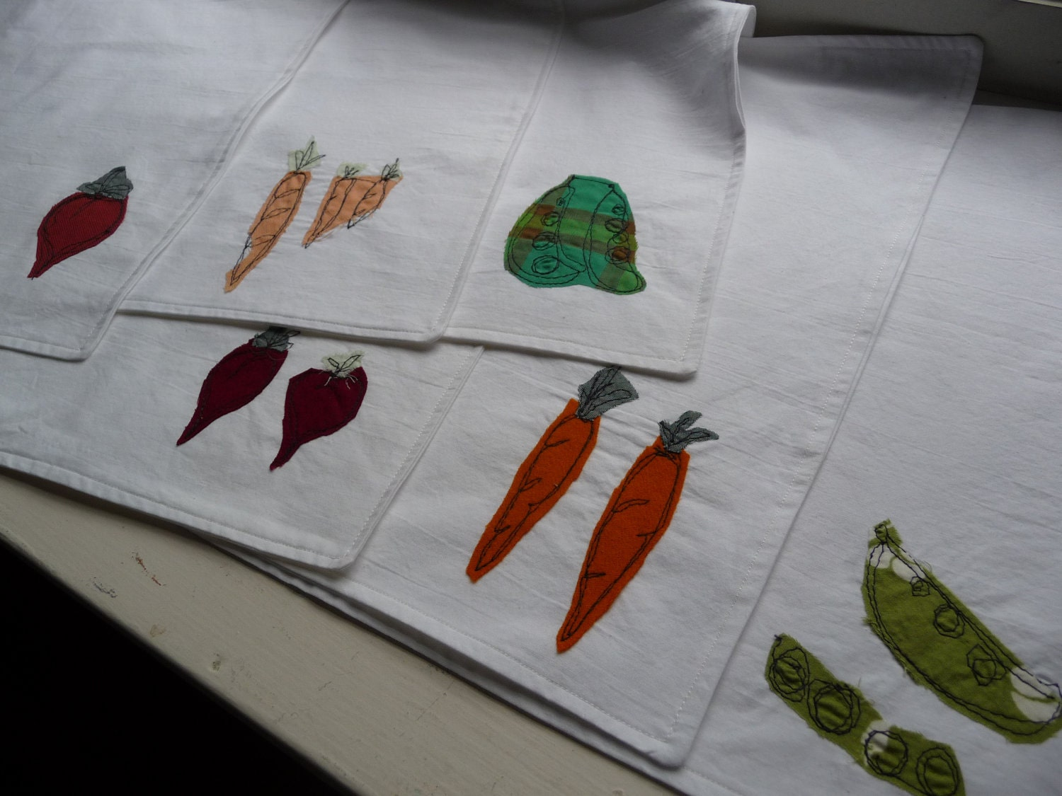 Upcycled Cloth Placemats with Vegetable Appliques