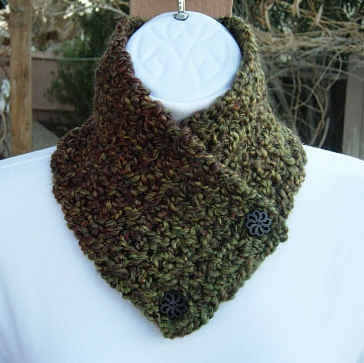Knitting Pattern For Small Neck Scarf : Items similar to NECK WARMER SCARF Small Buttoned Cowl ...