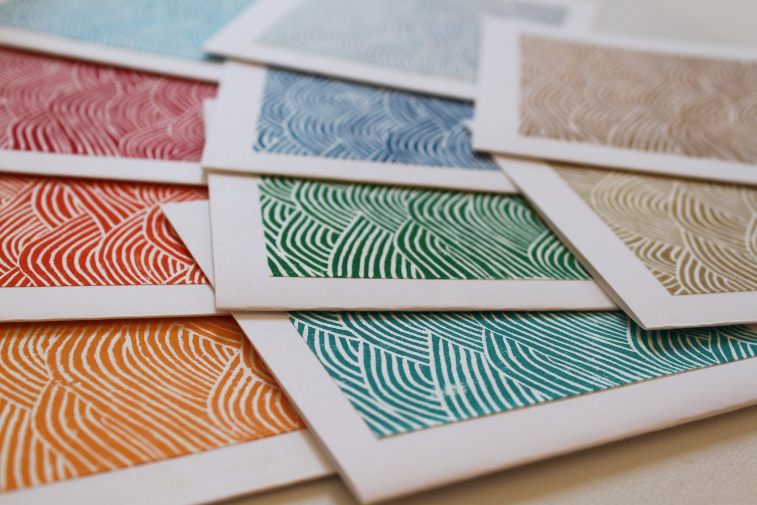 Yuzen Waves Hand Pulled Lino Block Cards - Set of 10