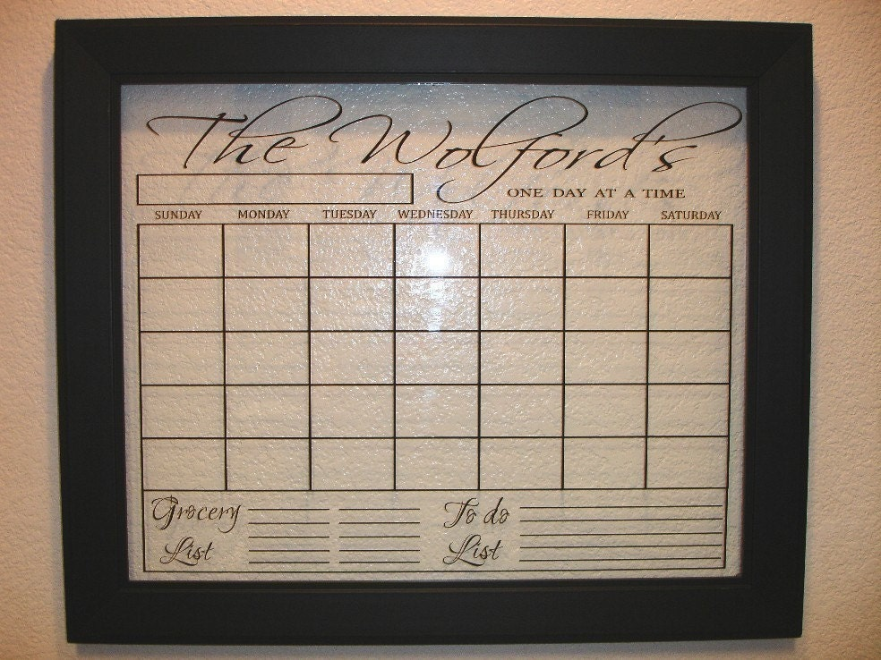 Personalized Vinyl Letters Calendar, Use with a Dry Erase Marker