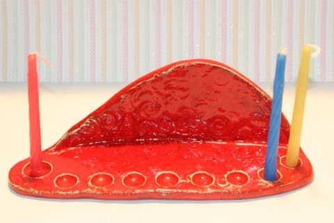 Red Hanukkah Ceramic Menorah Happy Holiday