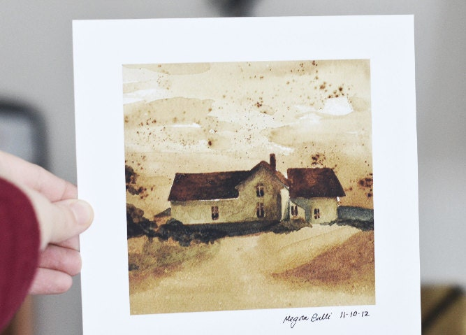 The Farm House- Watercolor and Coffee Painting-  Square Format Art Print- Ready to Ship - meganballi