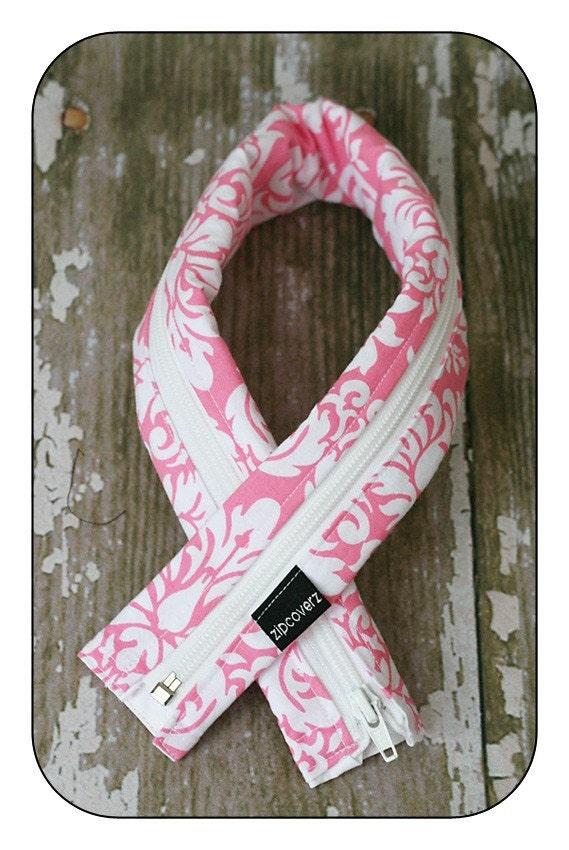 Pink Damask Plain Jane: a Zipcoverz Camera Strap Cover