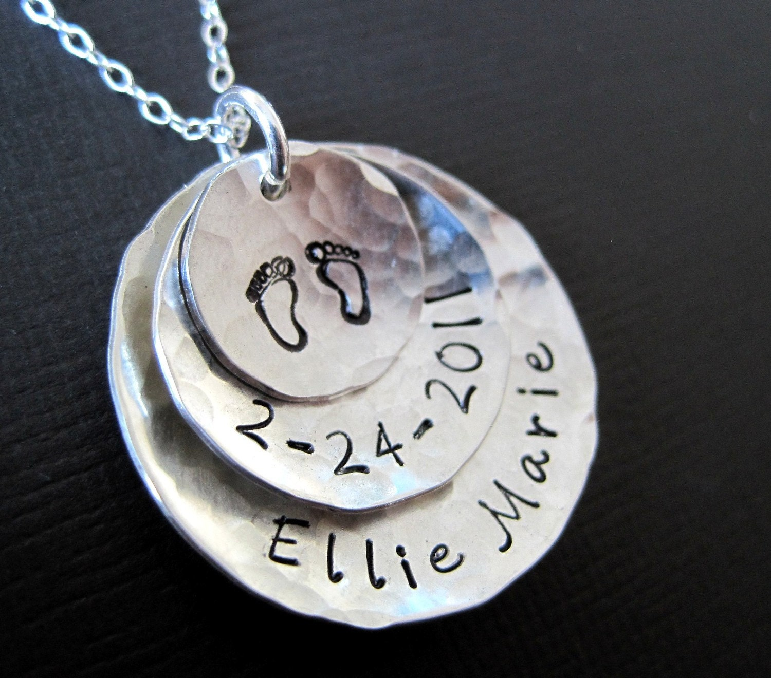 Hand Stamped Personalized Sterling Silver Necklace for Mom - Three Pendants