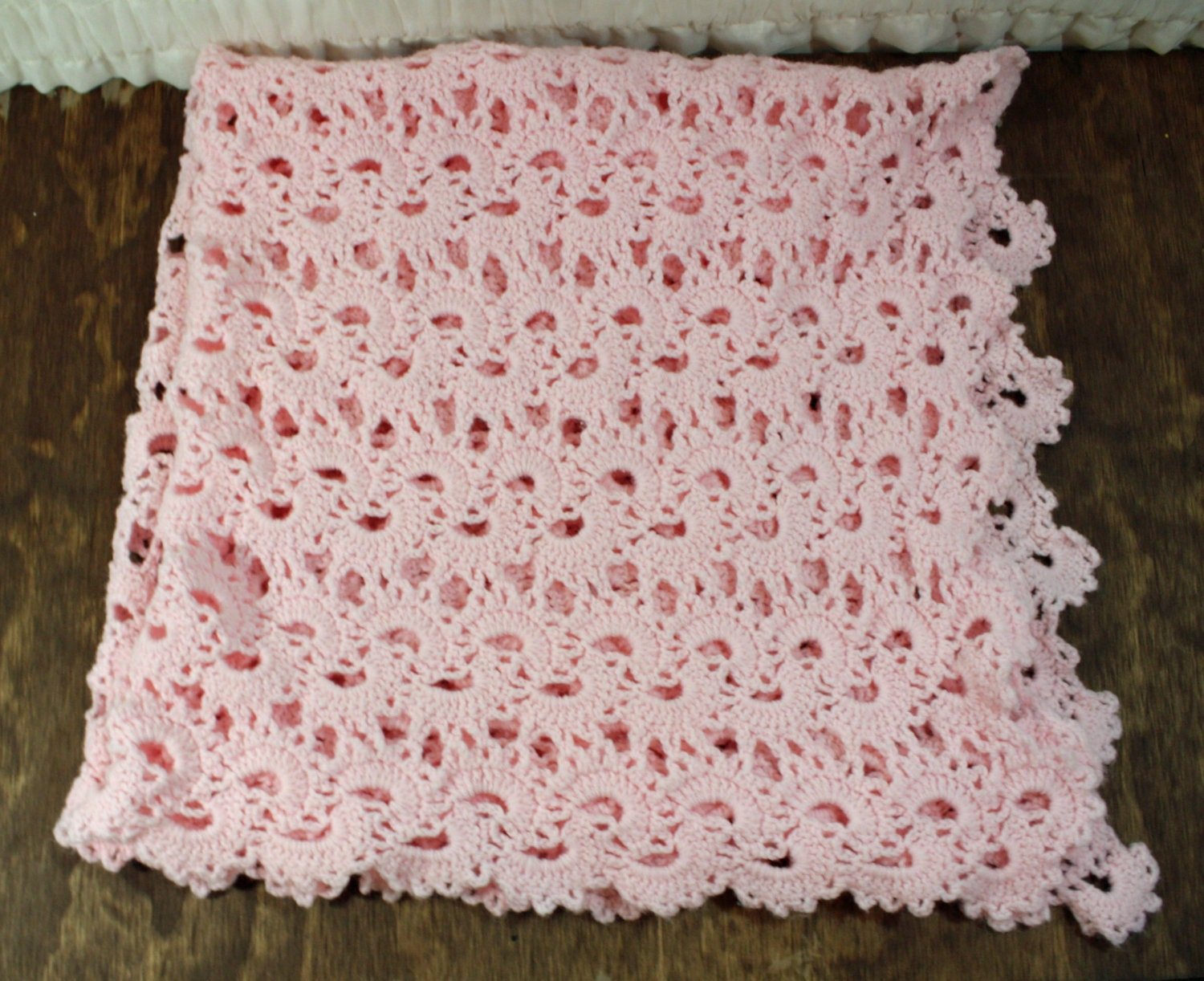 Crochet Quilts For Sale : SALE Pink Crocheted Baby Blanket Sam Wish
