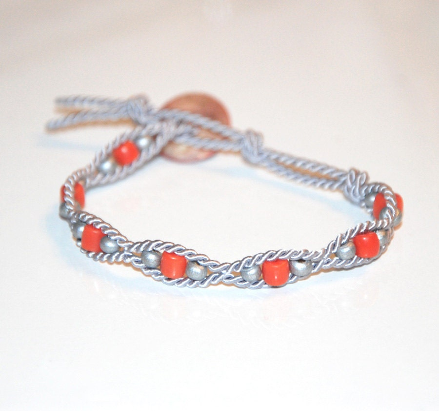 Soutache Coral Bracelet with sculpted Pearl Mass button in orange and silver color OOAK - MesFantasies