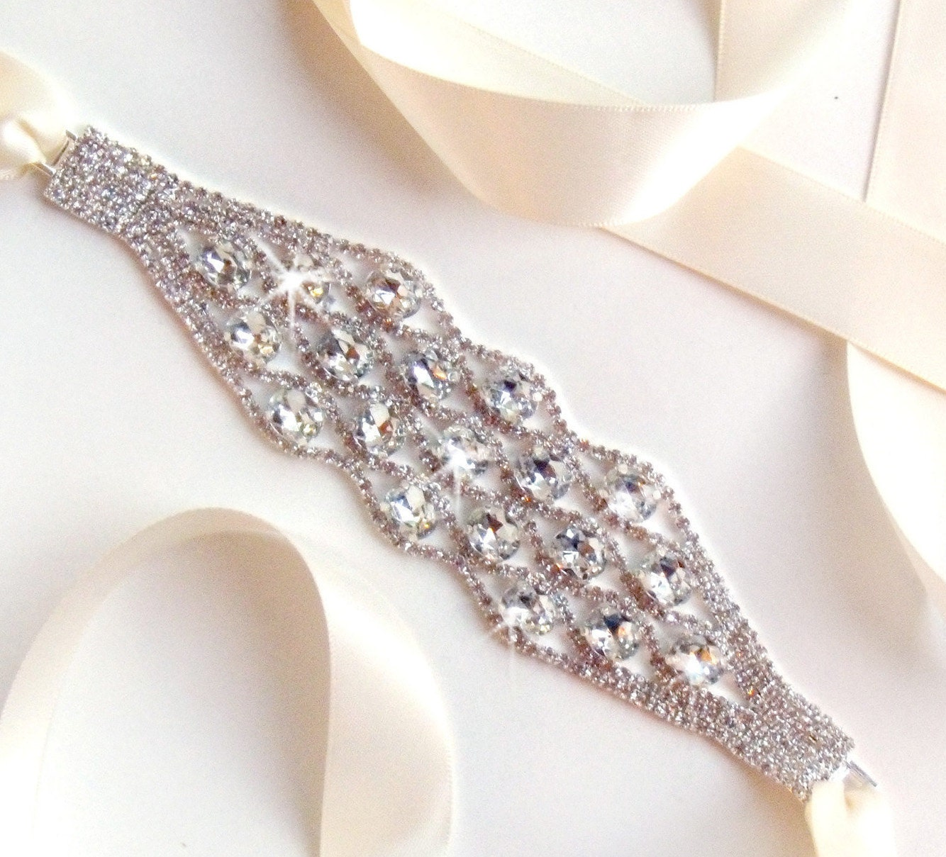 wide statement rhinestone bridal belt sash custom by
