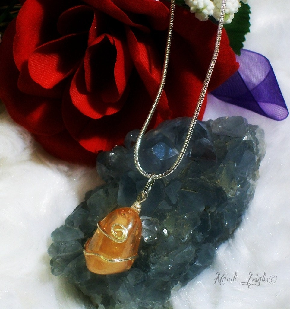 Imperial Gold Aura Sterling Silver Wire Wrapped Necklace