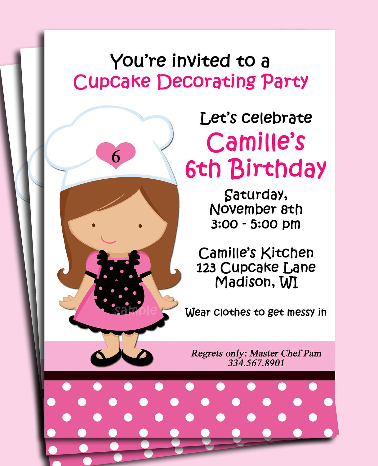 Girl Baking Birthday Invitation Printable Or By Thatpartychick