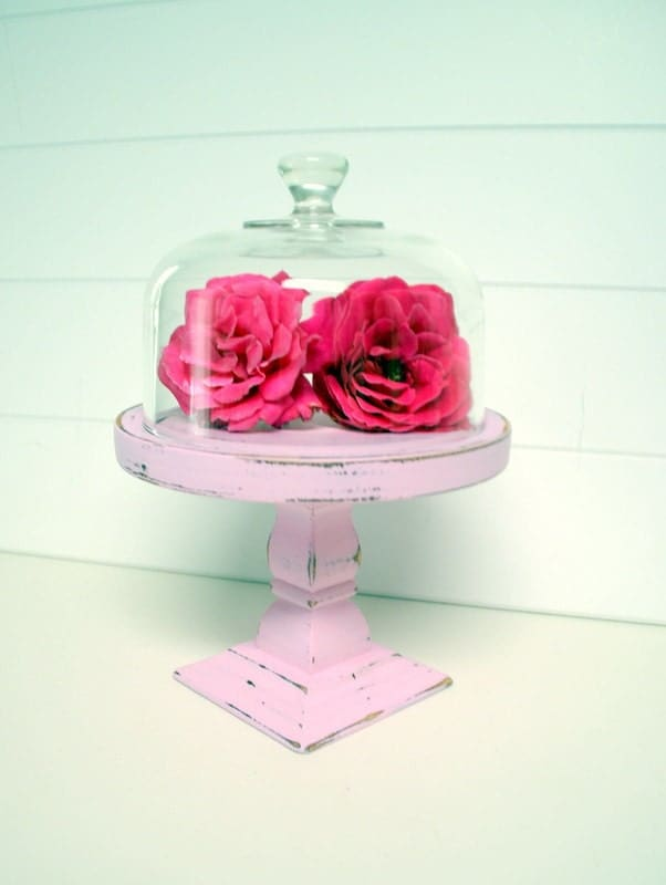 Upcycled Shabby Chic Pedestal Cloche in Pink by speckleddog on Etsy