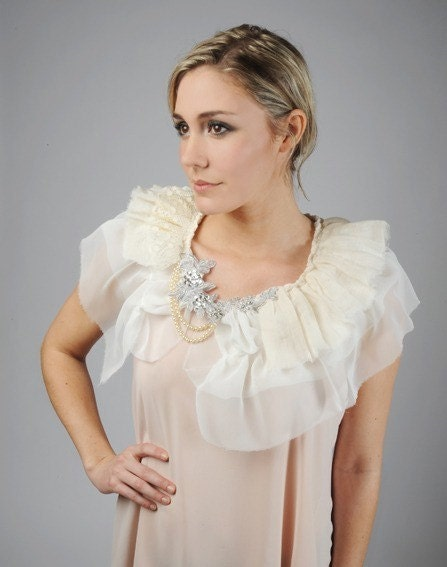 Perfectly Pale and full of Romance..IVORY  chiffon and lace capelet shrug
