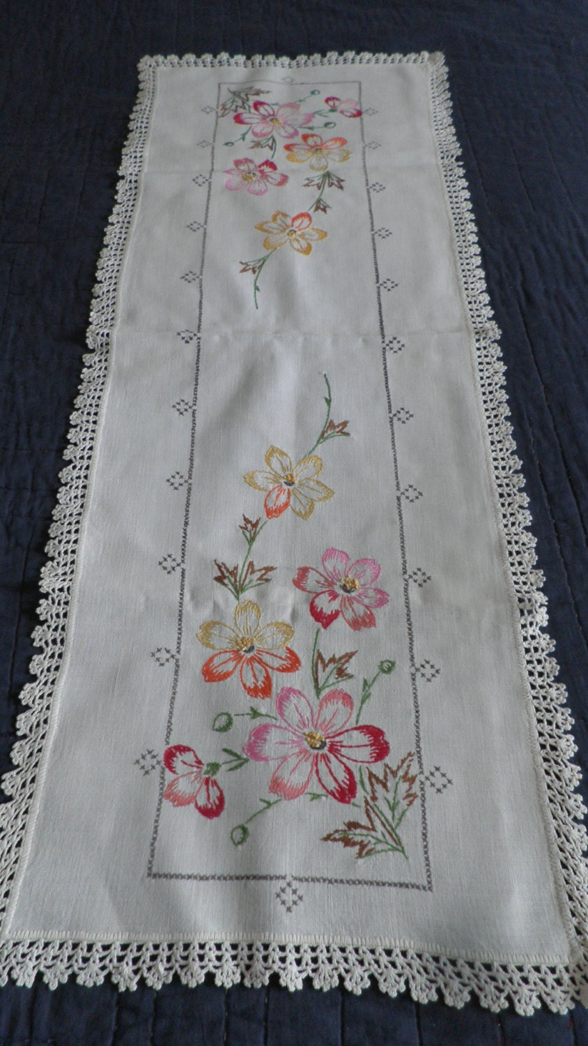 Set of beautiful vintage embroidered dresser scarves by