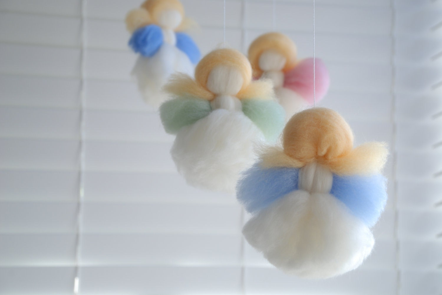 Baby Mobile for Nursery, 'Five Little Dumplings'  Angel Mobile - Handmade & Natural Materials in Pastel Rainbow Colours Waldorf - MerinoAngel