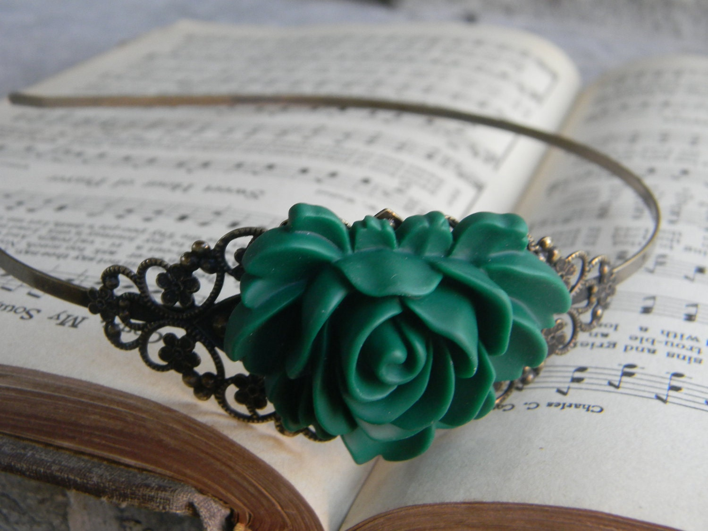 Vintage Inspired Irish Green Bridal Floral HeadBand