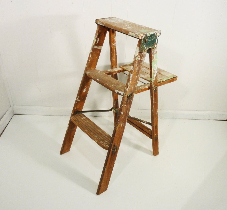 vintage splashy paint wooden step ladder step stool by  : il570xN495434994rtvn from www.etsy.com size 570 x 527 jpeg 40kB