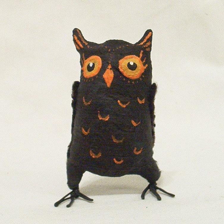Spun Cotton Vintage Style Halloween Owl OOAK etsy handmade decoration holiday