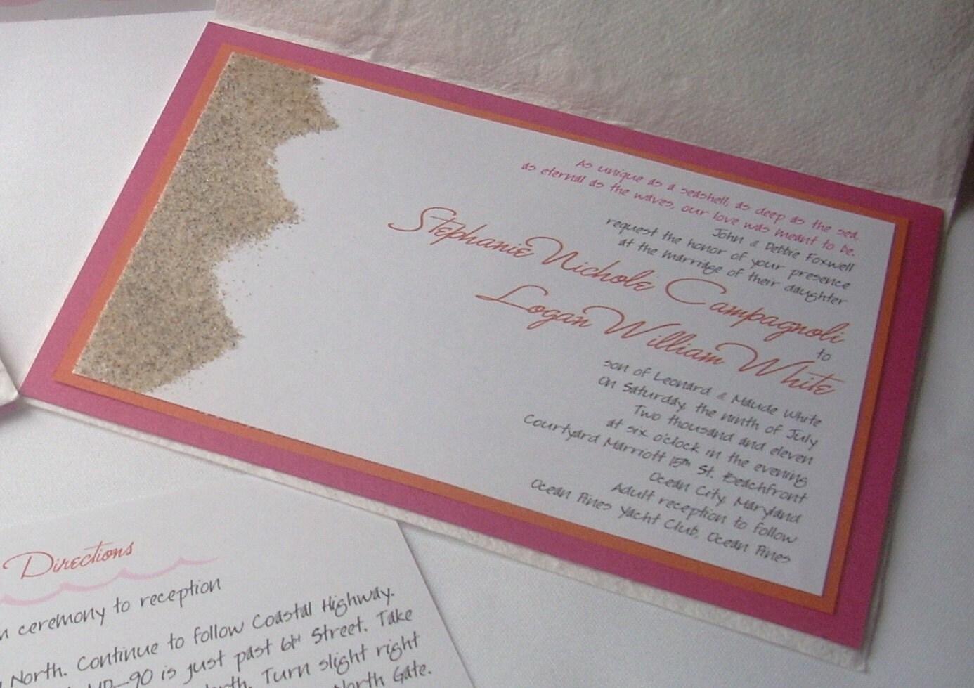FIRST SAND INVITATION on Etsy - Pink & Orange Beach Sand Wedding Invitation Set of 100