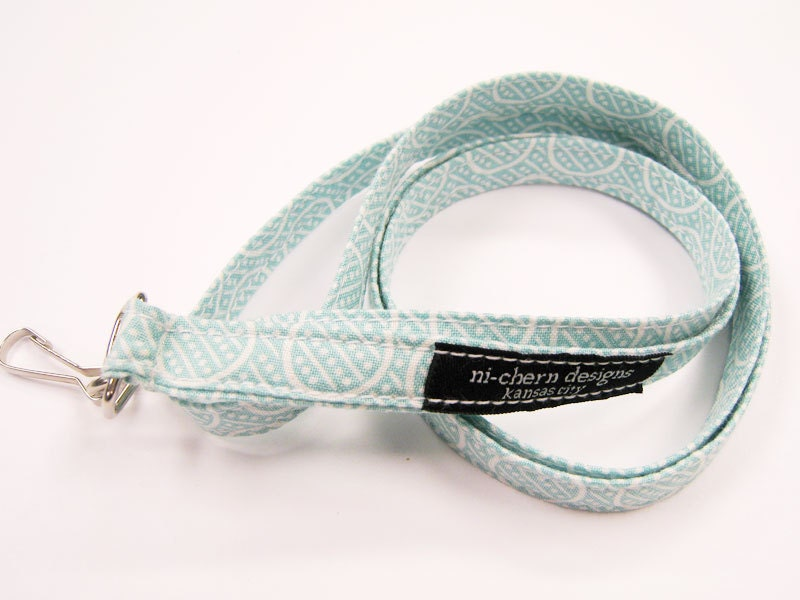Long Fabric Lanyard - Blue Green Circle Dots Lines