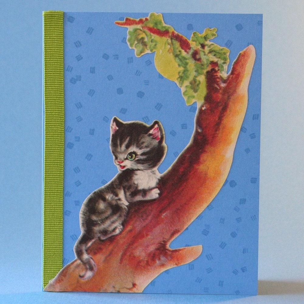 SALE Children's Greeting Card, Kitten Climbing Tree, Vintage Storybook Image