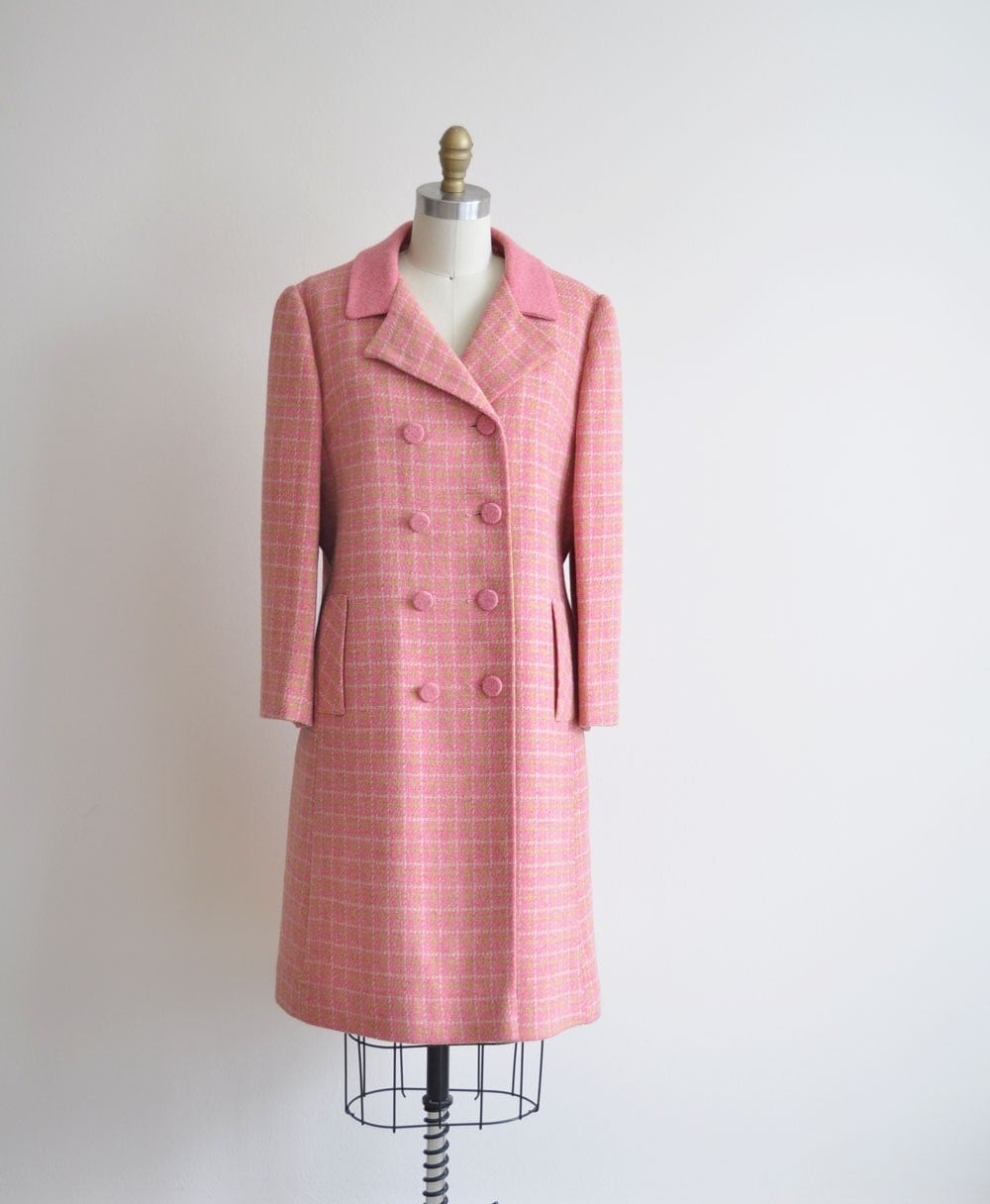 RESERVEDVintage 60s PINK PLAID Winter Coat by MariesVintage from etsy.com