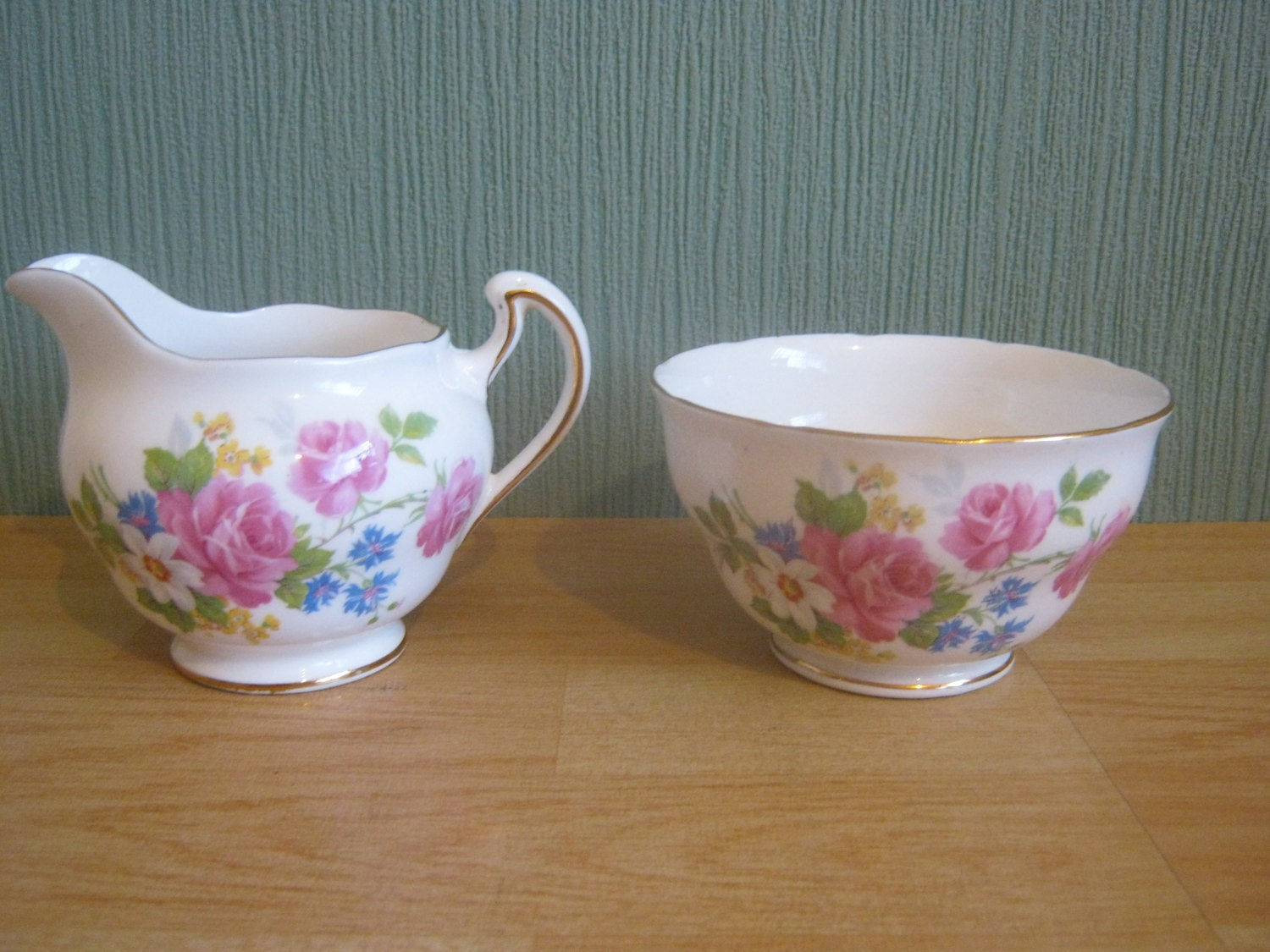 Royal Vale  Floral Decorated Milk and Sugar Bowl