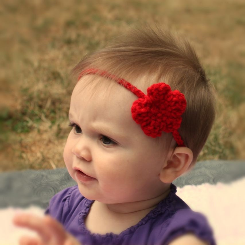 Baby Crochet Flower Headband-Red Baby Headband-Crochet Flower-Great Baby Shower Gift