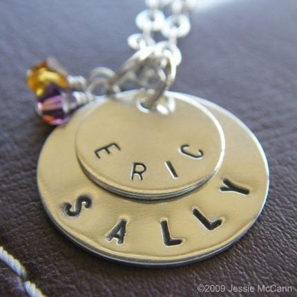 Stack Duo Mini with Birthstone or Pearl Personalized Hand Stamped Sterling Silver Tag Necklace